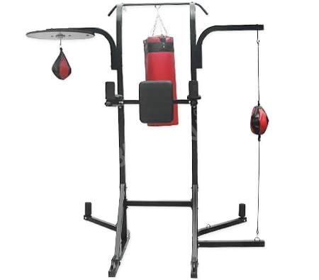 7 in 1 boxing station power tower chin up punching bag. Black Bedroom Furniture Sets. Home Design Ideas
