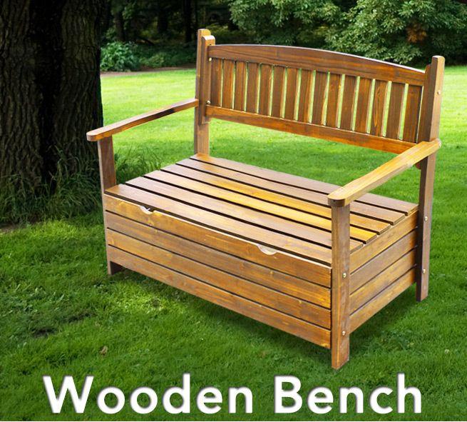 2 seat outdoor wooden garden storage box chest bench timber chair furniture. Black Bedroom Furniture Sets. Home Design Ideas